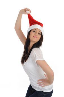 Funny Pretty Casual Woman In Christmas Hat Stock Photos