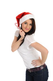 Funny Pretty Casual Woman In Christmas Hat Stock Images