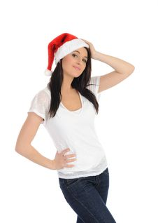 Free Funny Pretty Casual Woman In Christmas Hat Royalty Free Stock Photos - 17423918