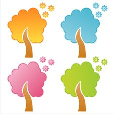 Free Set Of 4  Floral Trees Stock Photography - 17424042