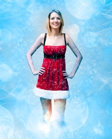 Free Girl In Santa Claus Clothes On Snow Pattern Royalty Free Stock Images - 17424849
