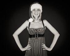 Free Smile Christmas Girl In Santa Hat Stock Images - 17424864