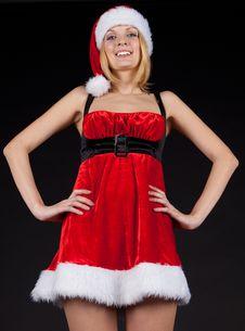Free Smile Christmas Girl In Santa Hat Royalty Free Stock Image - 17424866
