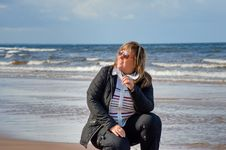 Woman Relaxing At The Sea. Stock Image