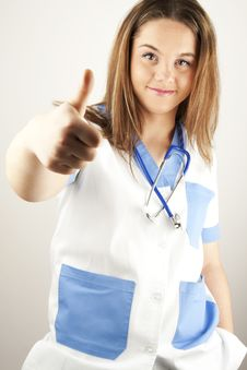 Free Young Woman Doctor Or Nurse Wearing Scrubs Stock Images - 17425734