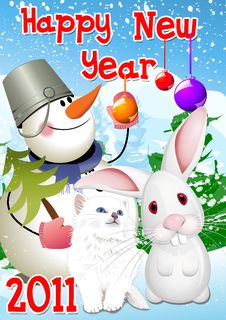 Free New Year 2011 Rabbit,Cat Royalty Free Stock Photography - 17425857