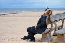 Adult Woman At The Sea Royalty Free Stock Images