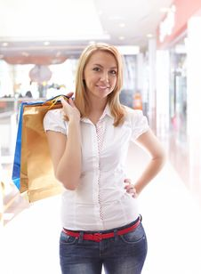 Young Beautiful Girl In The Mall Royalty Free Stock Photography