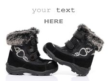 Free Black Child S Winter Boots Stock Images - 17426794