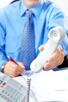 Free Businessman With Telephone Royalty Free Stock Image - 17427396