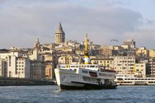 Free Galata Tower And Passenger Ship Royalty Free Stock Image - 17427406
