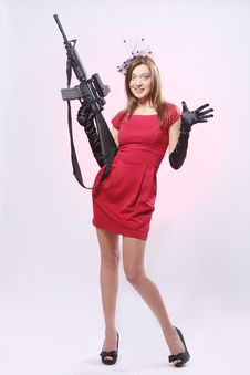 Attractive And Sexy Spy Woman With Assault Rifle Stock Photos
