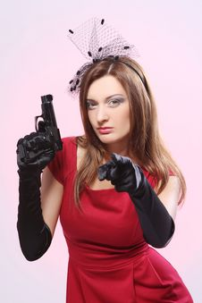 Attractive And Sexy Spy Woman With Pistol Stock Photos