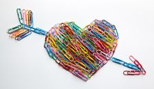 Free Arrow Striked Heart Paper Clips Royalty Free Stock Photography - 17428287