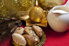 Free Cookies And Milk And Golden Candle Stock Photo - 17428710