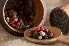 Free Wooden Pestel And Spoon With Red, Black, Green, Wh Stock Photos - 17428883
