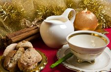 Milk And Cookies On Christmas Morning Royalty Free Stock Photo