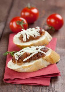 Fresh Tomato Chutney On Baguette Royalty Free Stock Photo