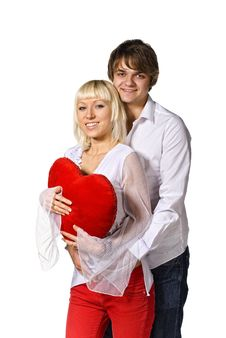 Free Young Couple With Red Heart Royalty Free Stock Images - 17429659