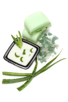 Aloe Vera Leaves, Handmade Soap And Bath Salt Royalty Free Stock Photo