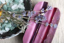 Free Handmade Lavender Soap Bars Bath Salt Royalty Free Stock Photos - 17429988