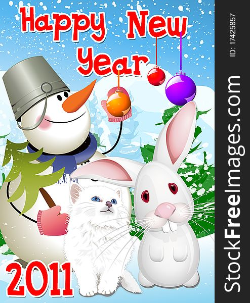 New Year 2011 Rabbit,Cat