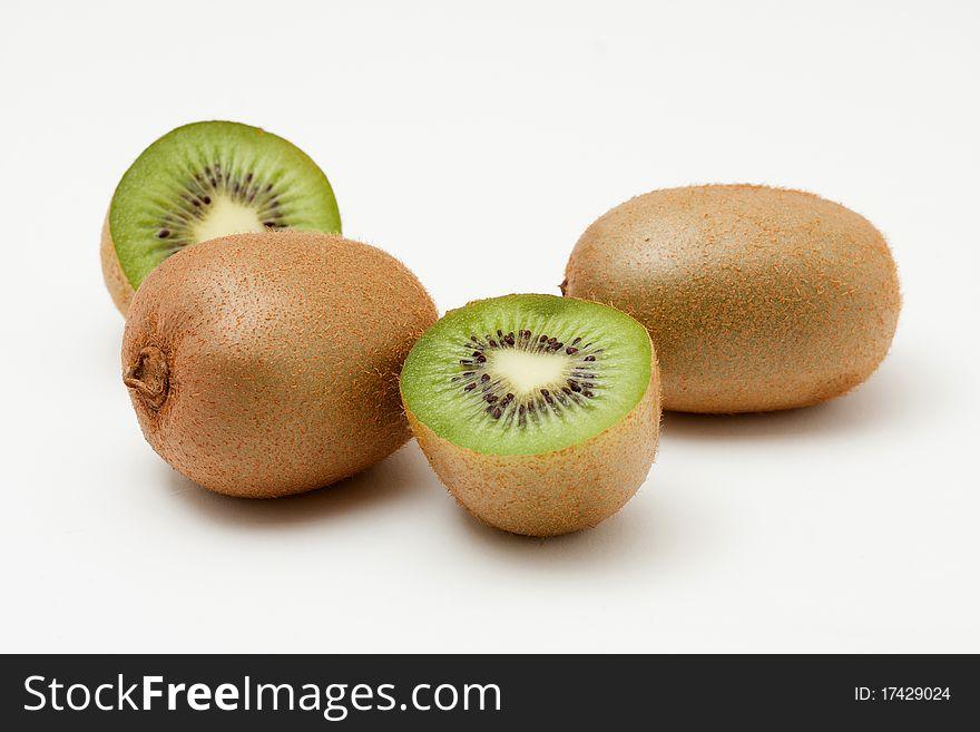 Kiwi fruits isolated on white background