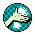 Free Hand Symbol On Dot Background Royalty Free Stock Photography - 17433687