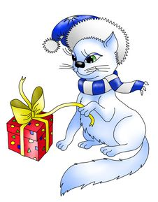 Cat With A Gift Stock Photography
