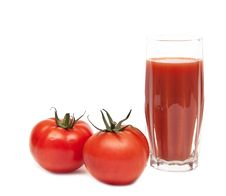 Free Fresh Tomatoes And A Glass Full Of Tomato Juice Stock Image - 17430341