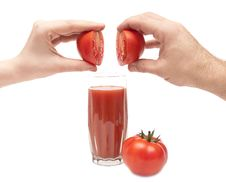 Free Halfs Tomatoes Combine Male And Female Hands Stock Photo - 17430430