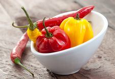 Free Chili And Habanero In Bowl Royalty Free Stock Photography - 17430617