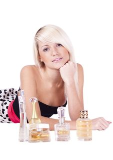 Girl. Spirits. Cosmetics Stock Images