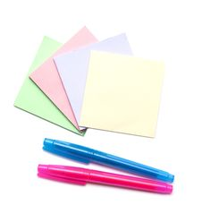 Stack Of Color Notes And Markers Royalty Free Stock Image