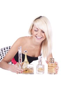 Girl. Spirits. Cosmetics Royalty Free Stock Photography