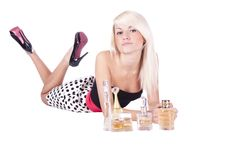 Girl. Spirits. Cosmetics Stock Image