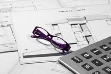 Calculator And Glasses Royalty Free Stock Photo