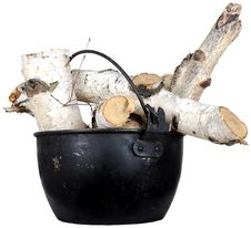 Free Birch Wood In A Metal Pot Stock Photography - 17431532