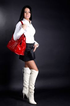 Free Woman With Red Bag Stock Image - 17431741