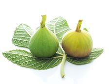 Free Fig And Fig Leaf Isolated On White Royalty Free Stock Photography - 17432207