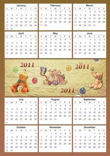 2011 Childish Calendar Stock Images