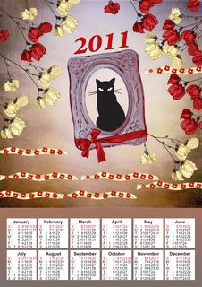2011 Calendar With A Black Cat Royalty Free Stock Photography