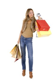 Free Sexy Blond Woman With Shopping Bags Stock Photos - 17432963