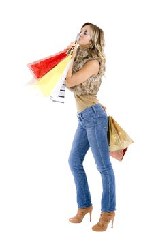 Free Sexy Blond Woman With Shopping Bags Royalty Free Stock Photos - 17432978