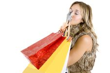 Free Sexy Blond Woman With Shopping Bags Stock Photo - 17432990