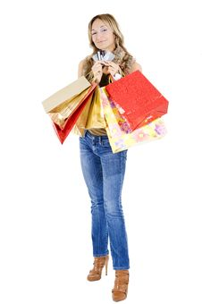 Free Sexy Blond Woman With Shopping Bags Stock Photography - 17432992