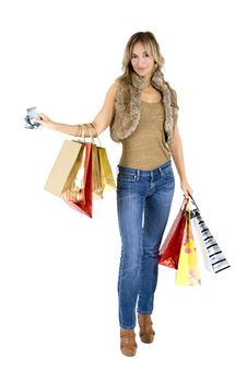 Free Sexy Blond Woman With Shopping Bags Stock Photo - 17433000