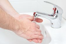 Free Close-up Of Human Hands Being Washed Royalty Free Stock Image - 17433246