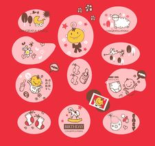 Baby Girl Elements Set Stock Image