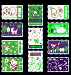 Free Baby Girl Postage Stamps Royalty Free Stock Photo - 17433585